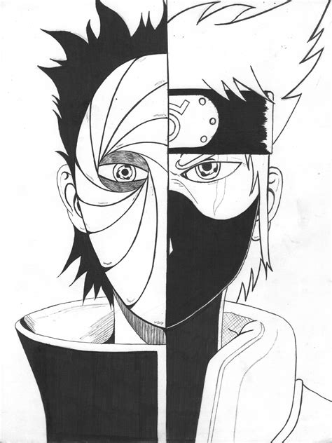 imagenes de kakashi blanco y negro hatake kakashi anime boys drawing uchiha obito