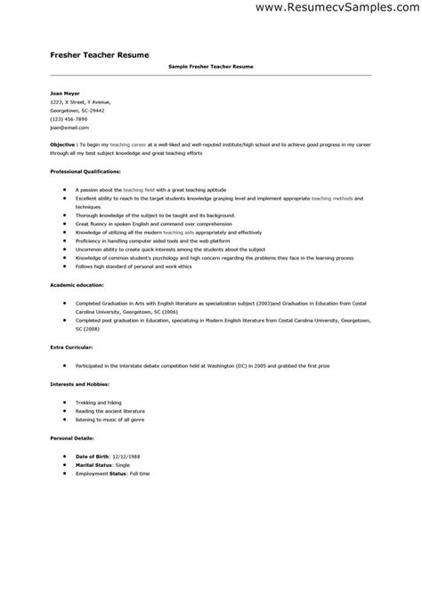Sle Resume Format For Be Freshers Sle Cv Resume For Freshers 28 Images 28 Resume Templates For Freshers Free Sles Exles