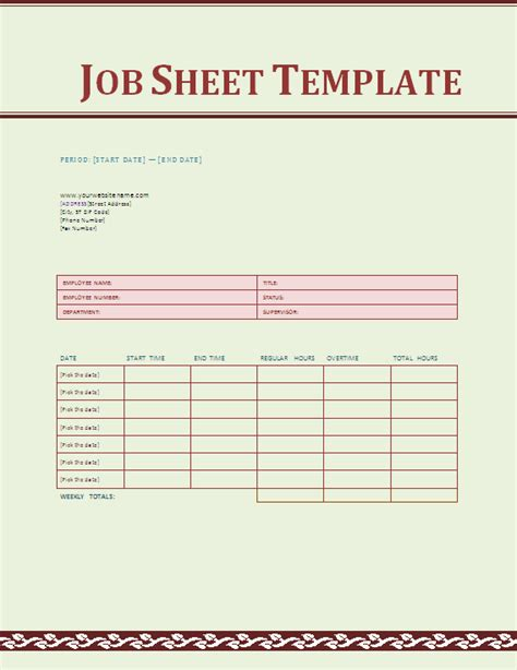job sheet template social funda