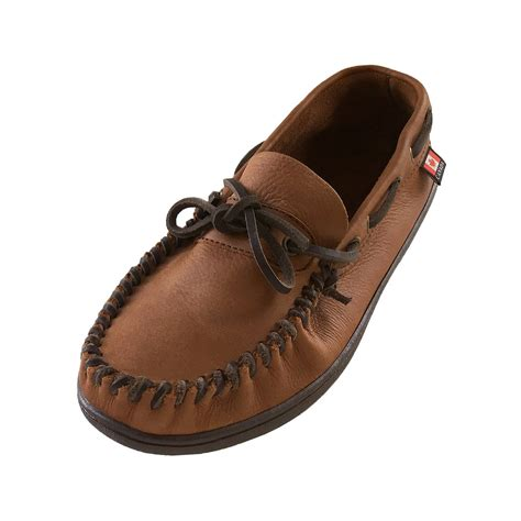 mens wide moccasin slippers s wide width fit rubber sole genuine leather
