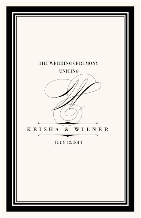 Monogram Wedding Programs   Wedding Ceremony Programs