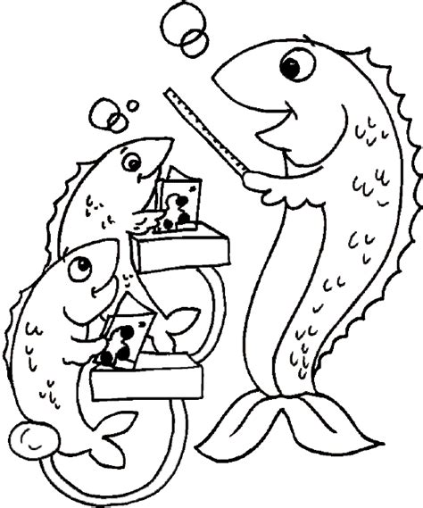 school of fish coloring book page fish learning at school