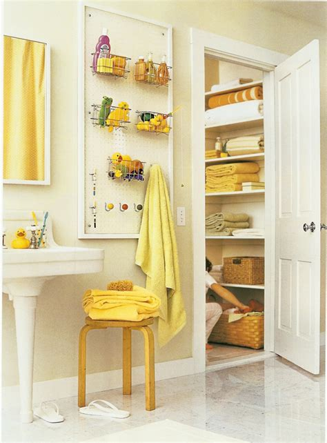 pegboard in the bathroom idea if no linen closet or
