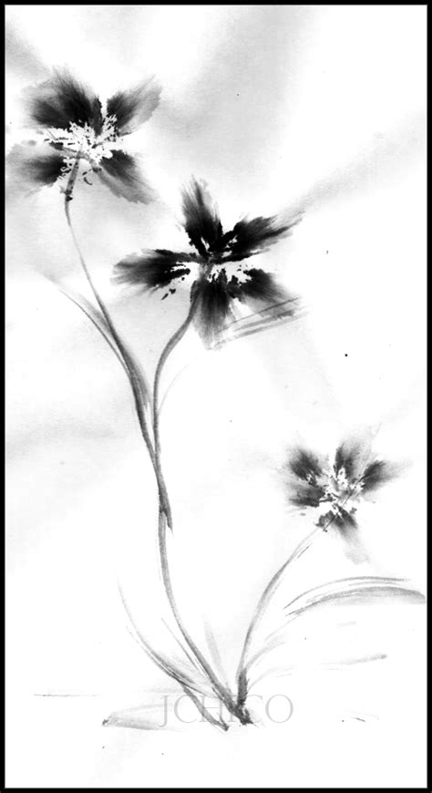 Easy To Draw Japanese Flowers by Japanese Flower Ink Drawing By Jchico On Deviantart