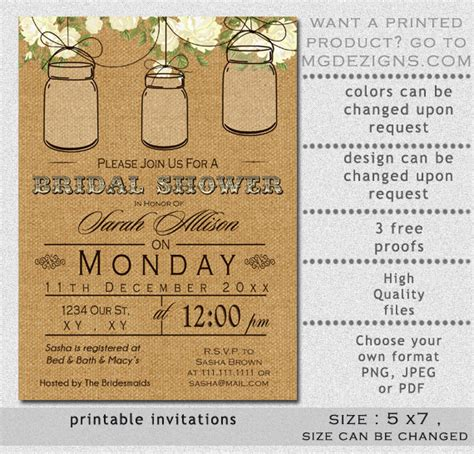 free printable bridal shower invitations rustic items similar to printable bridal shower invitation