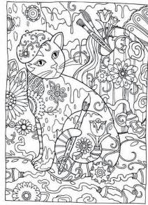 abstract zentangle cat coloring 187 coloring pages kids