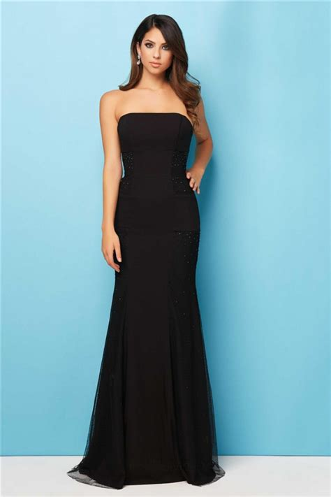 beaded evening gown simple mermaid strapless black chiffon tulle beaded