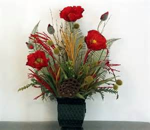 Home Decor Silk Flower Arrangements silk floral arrangement red poppy table arrangement