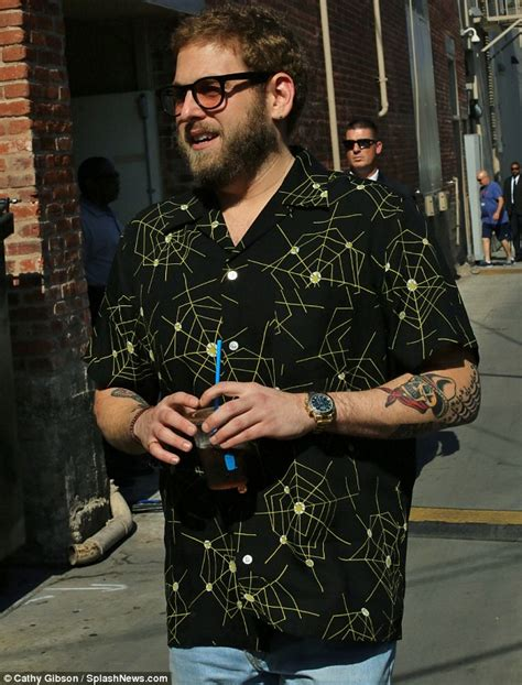 jonah hill tattoo jonah hill shows new arriving at jimmy kimmel