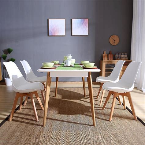 Retro Dining Room Chairs Set Of 4 Dining Chairs Retro Dining Room Set Table Chairs Home Office Wooden Leg Ebay