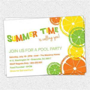 citrus invitations summer pool lemon lime orange birthday byob printable set of