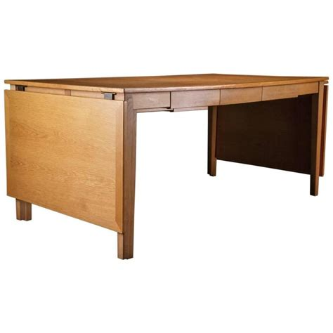 Danish Oak Desk Or Dining Table With Drawers And Leaves At Dining Tables With Drawers