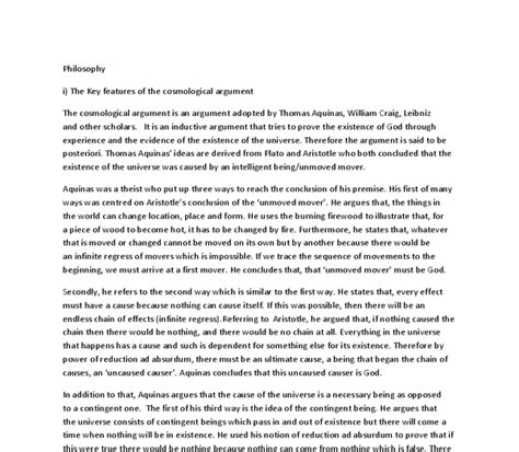 Philosophy And Religion Essay by Cosmological Argument Essay Aqa Rs Key Cosmological Argument Essay Hubpages Explain Hume S
