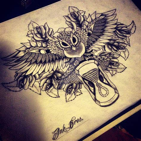 tattoo owl time inkbrothers owl time backpiece by inkbrothersnl on deviantart