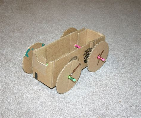 how to build a car books rubber band powered cardboard car