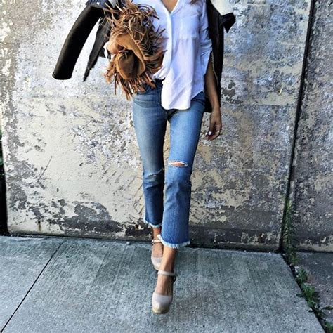 Fray Hem Boot Cut Washed shalice noel pairs fringe with fray in our 3x1 w2 mid rise