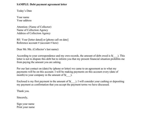 Debt Letter Template 10 Sles For Word Pdf Debt Settlement Agreement Letter Template