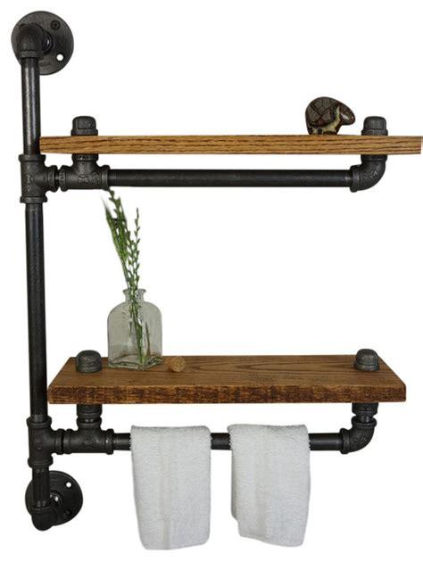 ridgeview bath shelf with towel bar industrial display
