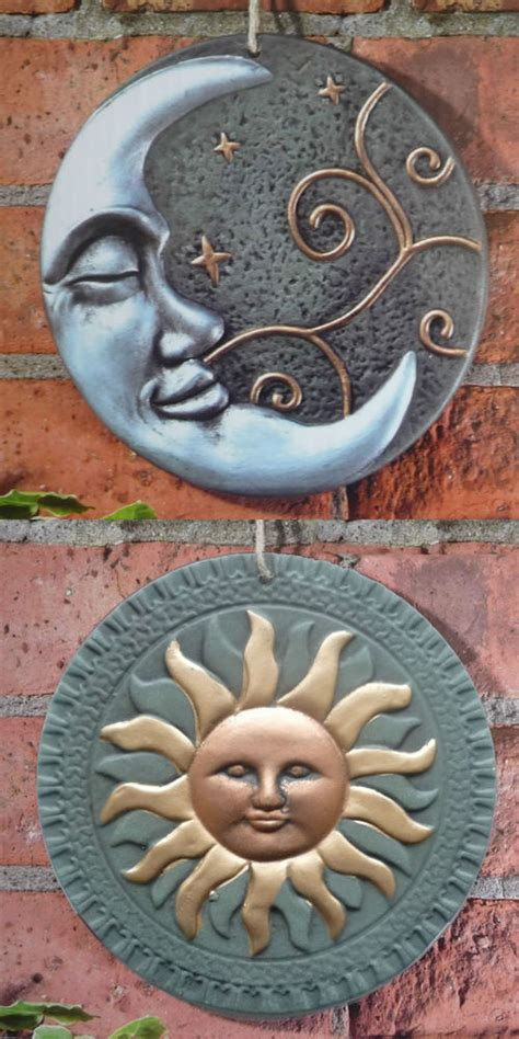Terracotta Sun Or Moon Garden Wall Plaque Ornament Outdoor Garden Wall Plaques