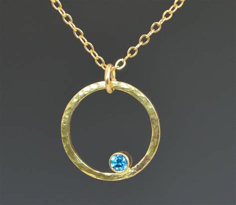 solid 14k gold blue zircon necklace mothers necklace