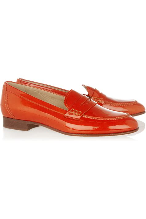patent loafer j crew biella patent leather loafers in orange lyst