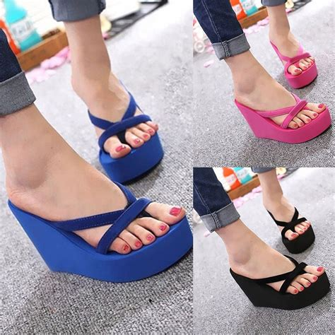 wearing slippers womens wedge platform flip flops high heel slippers