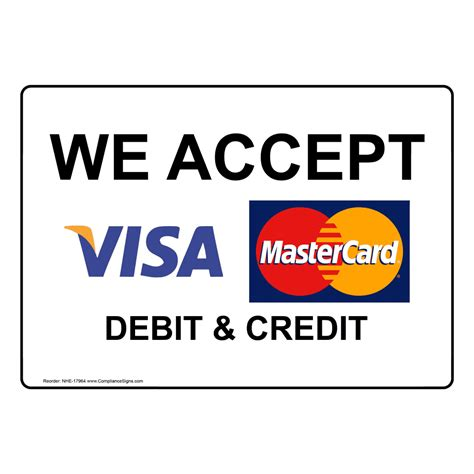 we do not accept credit debit cards sign template we accept visa mastercard debit and credit sign nhe 17964