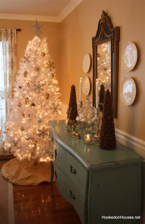 tree silver white:  on holiday house tours my white christmas tree hooked on houses