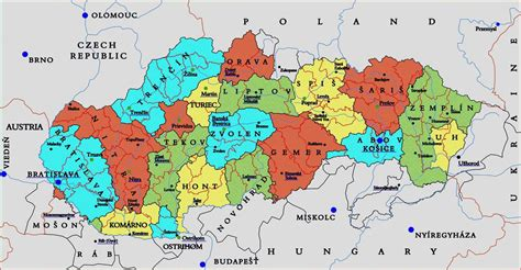 where is slovakia on the world map slovakia administrative divisions map vidiani maps
