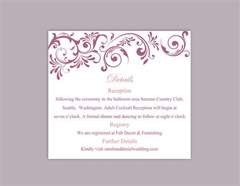 wedding detail card template free diy wedding details card template editable text word file