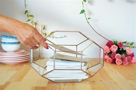 wedding card box australia large geometric glass box wedding card box glass card box