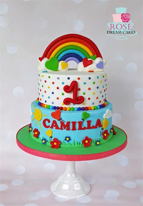 rainbow birthday cake cake  rose cakesdecor
