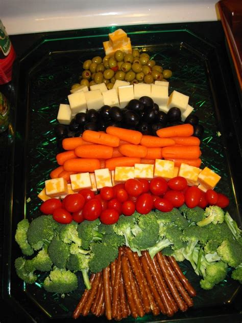 christmas tree veggie tray fun yummy pinterest
