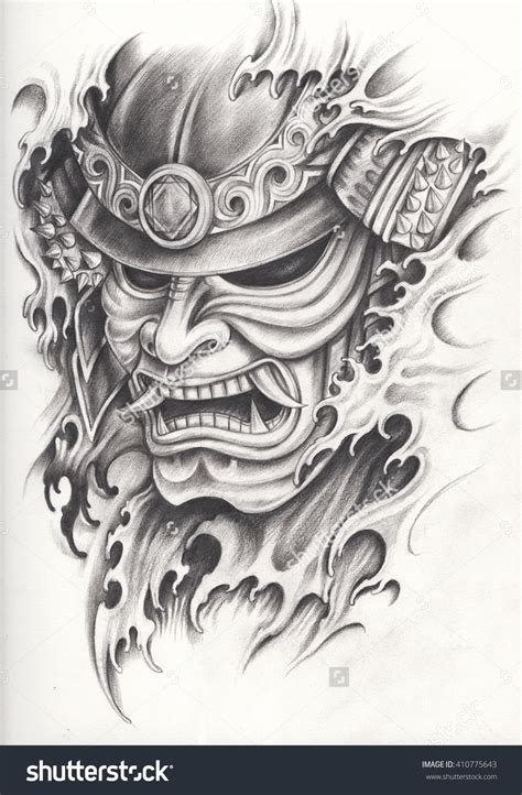warlord tattoo designs samurai warrior design pencil drawing on paper