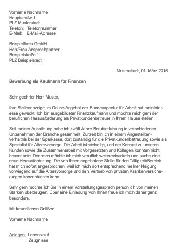Anschreiben Praktikum Finanzen Muster Gt Bewerbung Als Kauffrau Kaufmann F 252 R Finanzen