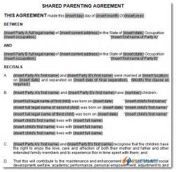 co parenting contract template child support and parenting plan agreement template