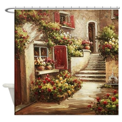 Tuscan Style Kitchen Curtains Tuscan Courtyard Shower Curtain By Ethnocentric