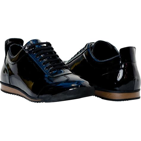 mens black leather sneakers bronson black patent leather low top sneakers paolo shoes