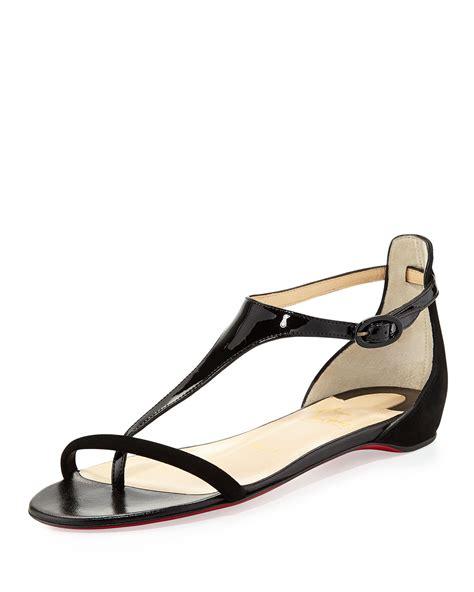 black sandals flat christian louboutin athena patent suede flat sandal black
