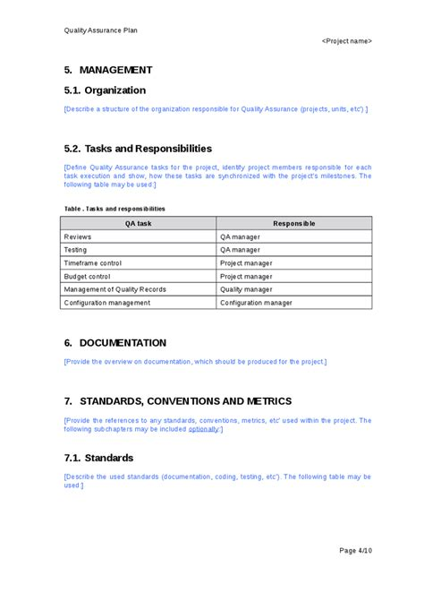 quality assurance template documents quality assurance plan hashdoc