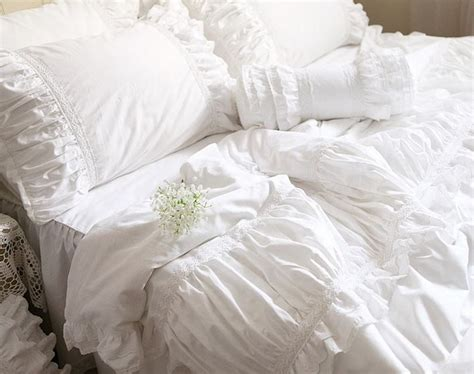 eyelet comforter luxurious ruched ruffled lace eyelet duvet bedding