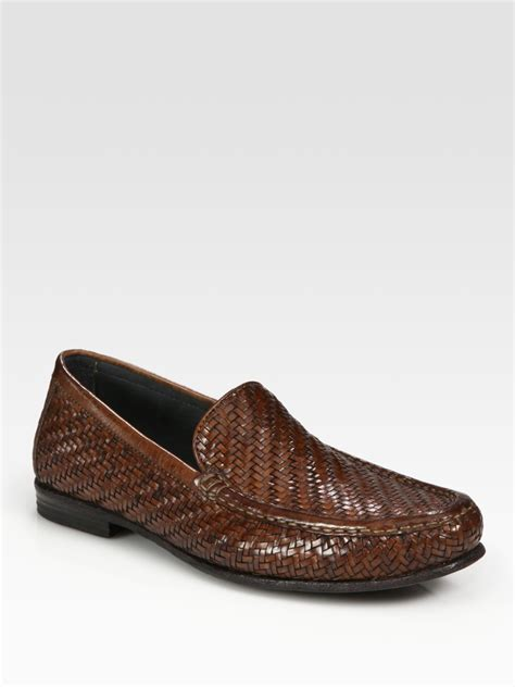 woven leather loafers lyst to boot woven leather loafers in brown for