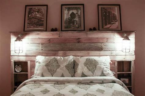 Wood Pallet Headboard Wood Pallet Headboard With Lights Pallet Furniture Diy