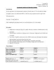 gravimetric analysis lab report sle 8610 g 14332 gmol 1 00060 mol calculate moles of cl mol