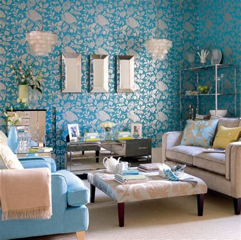 damask living room 15 interesting combination of brown and blue living rooms