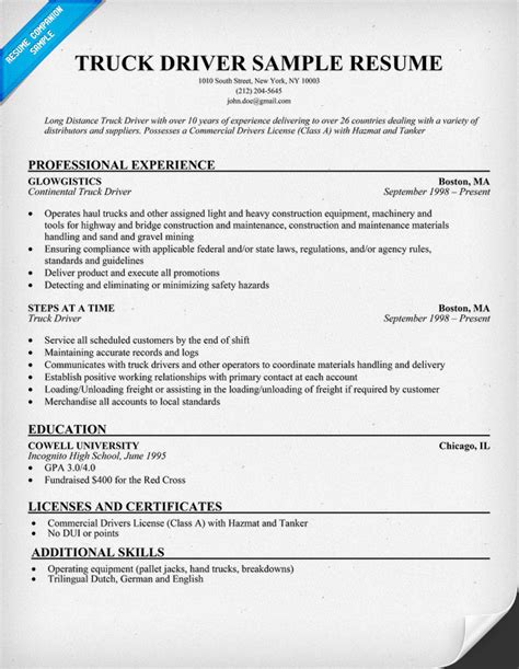 resume templates for truck drivers truck driver resume
