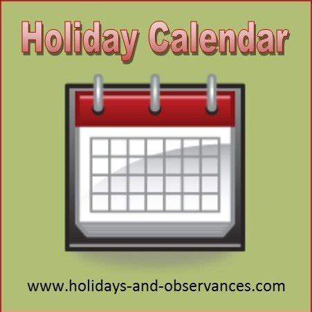 2018 calendar from holidays and observances
