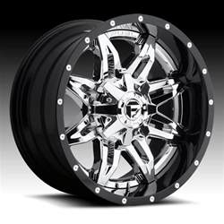 Truck Wheels Chrome Fuel D266 Lethal 2 Pc Chrome W Black Barrel Custom Truck