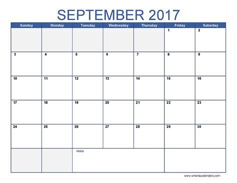 Calendar 2017 Monthly September 2017 Calendar Template Printable Monthly