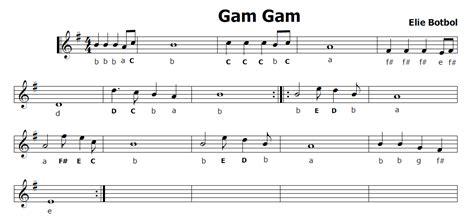 testo gam gam musica e spartiti gratis per flauto dolce gam gam